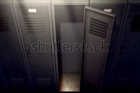 Kastje rij Open deur metaal gymnasium een Stockfoto © albund