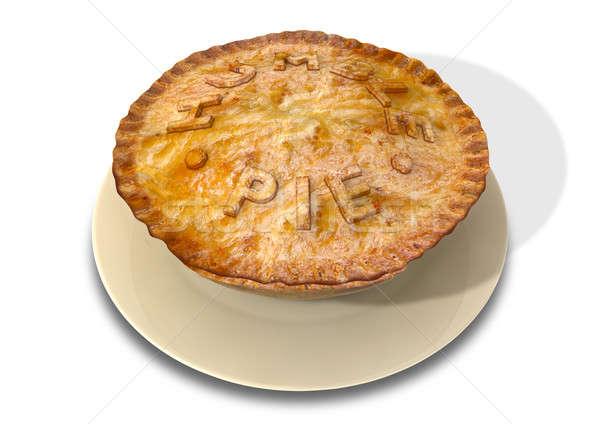Skromny pie gotowany ciasto tablicy słowa Zdjęcia stock © albund