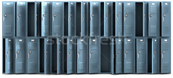 School Lockers Ransacked Front Stock photo © albund