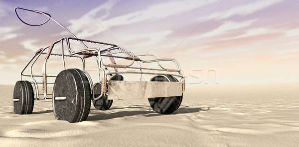 Wire Toy Car In The Desert Perspective Stock photo © albund