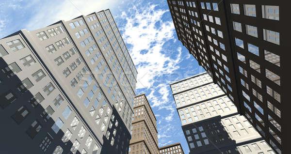 Bâtiment vue ville gratte-ciel réfléchissant fenêtres Photo stock © albund