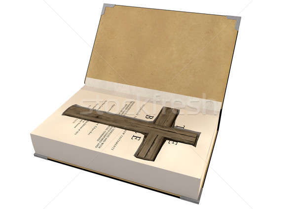 Crucifix Concealed In A Bible Stock photo © albund