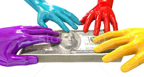 Hands Colorful Grabbing At US Dollars Stock photo © albund
