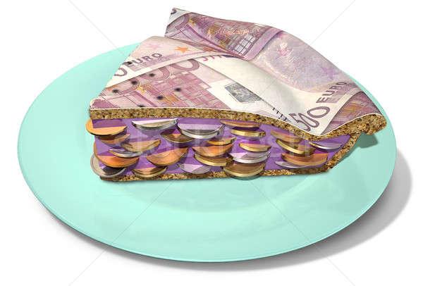 Plakje euro geld taart Stockfoto © albund