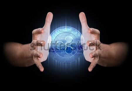 Ręce pary mężczyzna ciemne Internetu czarny Zdjęcia stock © albund