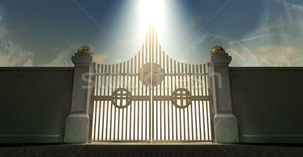 Heavens Golden Pearly Gates Stock photo © albund