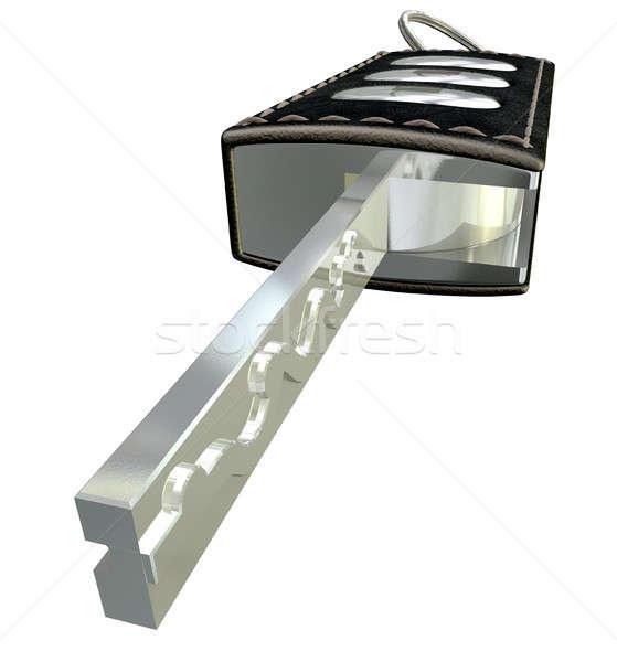 Stockfoto: Luxe · voertuig · sleutel · perspectief · metaal · leder