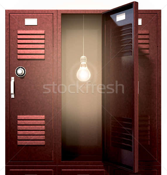 Stock photo: Red School Lockers With Light Bulb Inside Front