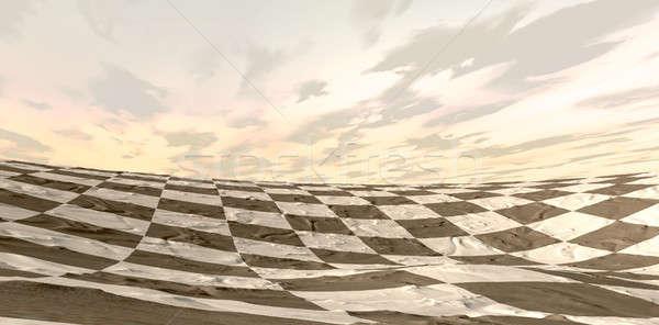 Desierto tablero de ajedrez paisaje anochecer arena fuera Foto stock © albund