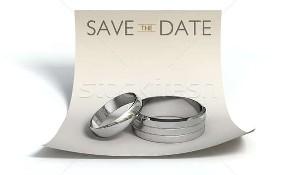 Save The Date Rings And Note Stock photo © albund