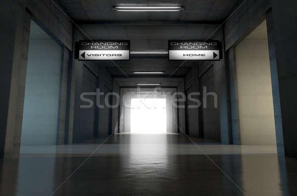 Sportok stadion alagút lefelé néz sötét aréna Stock fotó © albund