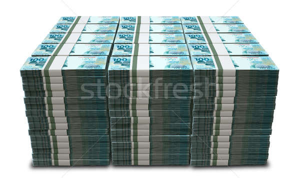 A pile of wads of brazilian real banknotes on an isolated background Stock photo © albund