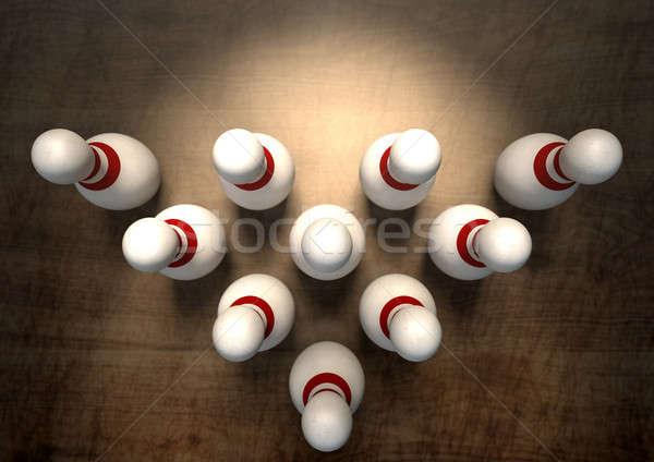 Dez pin boliche branco vermelho Foto stock © albund