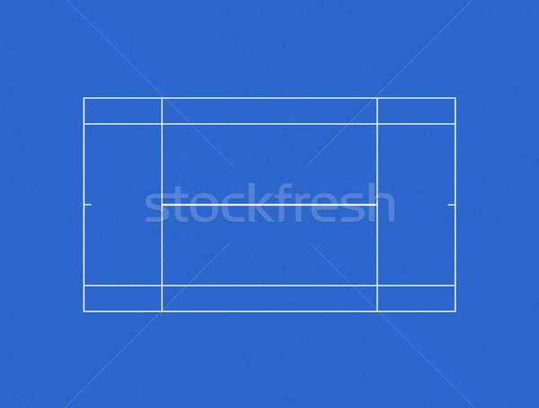 Quadra de tênis traçado azul concreto verde estádio Foto stock © albund