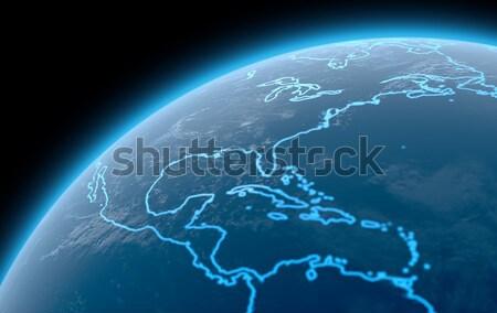 Planeet verlicht continenten 3d render Blauw schetst Stockfoto © albund
