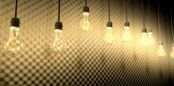 Light Bulbs Against Acoustic Foam Stock photo © albund