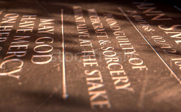Gravestone Of Burnt Witch Stock photo © albund