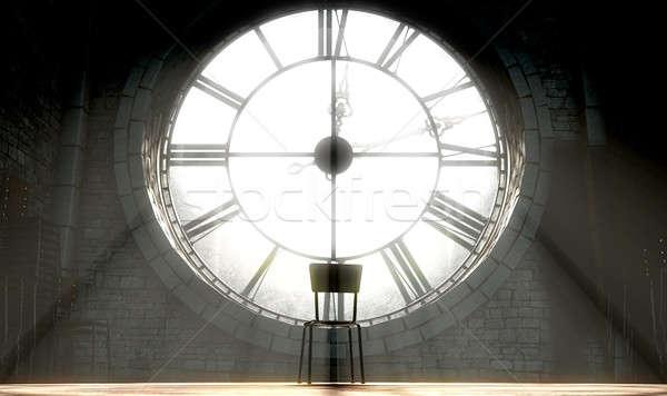 Antichi clock vuota sedia rendering 3d soffitta Foto d'archivio © albund
