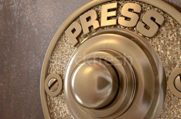 Sonnette rendu 3d vintage laiton isolé bois Photo stock © albund