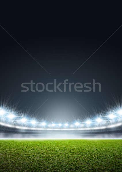 általános stadion zöld fű pálya éjszaka megvilágított Stock fotó © albund