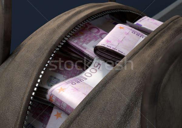 Pénz barna táska nyitva bőr tekert Stock fotó © albund