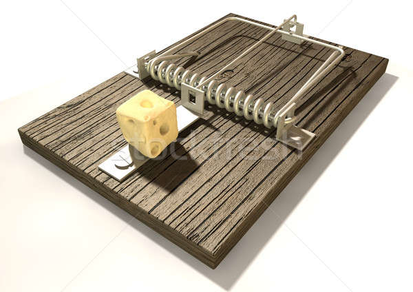 Mousetrap With Cheese Perspective Stock photo © albund