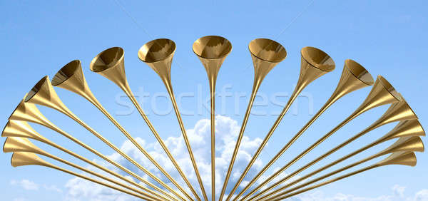 Heavenly Medieval Trumpet Circle And Sky Stock photo © albund