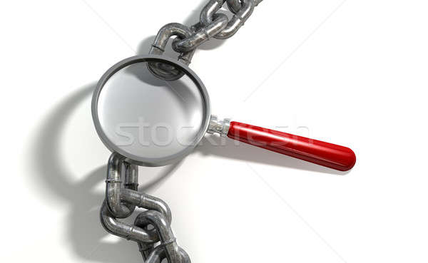 Chain Missing Link Magnifying Glass Stock photo © albund