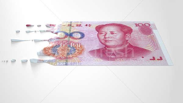 Chinese Yuan Melting Dripping Banknote Stock photo © albund