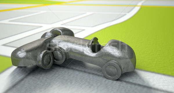 Gps harita oyuncak araba çarpışma yol Stok fotoğraf © albund