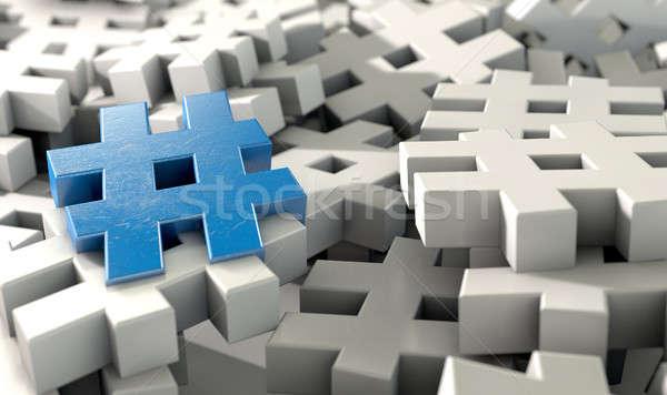 Conceito imagem coleção branco azul Foto stock © albund