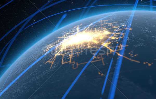 Planet With Illuminated City And Light Trails Stock photo © albund