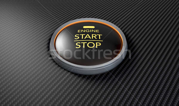 Push To Start Carbon Fibre Button Stock photo © albund