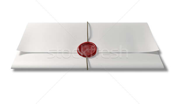 Paper With Red Wax Seal And String Front Stock photo © albund