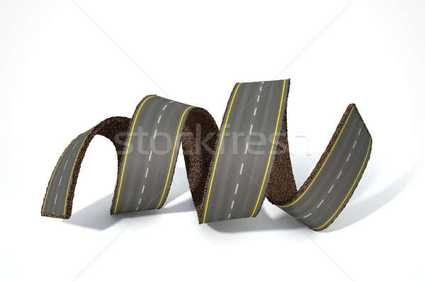A concept image of a strip of tar that has been peeled and curled on an isolated white studio backgr Stock photo © albund