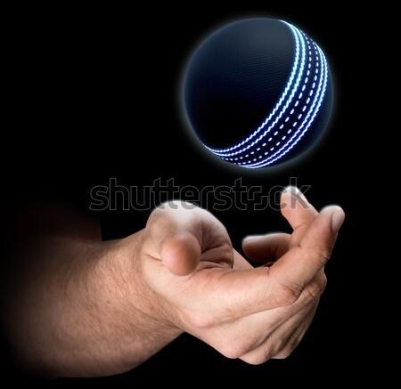 Hand Tossing Cricket Ball Stock photo © albund
