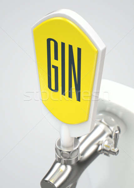 Gin modern fehér króm csap izolált Stock fotó © albund