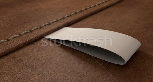 Narrow Clothing Label On Leather Perspective Stock photo © albund