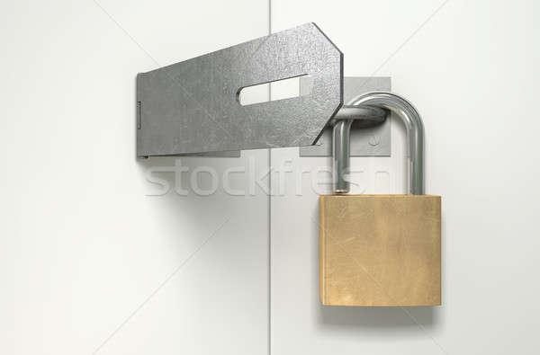 Padlock And Hasp Unlocked Front Stock photo © albund