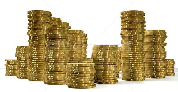 Золотые монеты выстрел различный изолированный монетами Сток-фото © albund