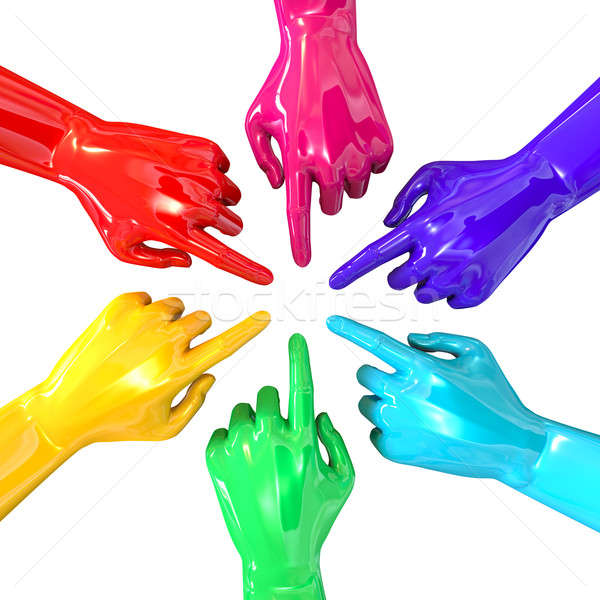 Hands Colorful Circle Pointing Inward Top Stock photo © albund