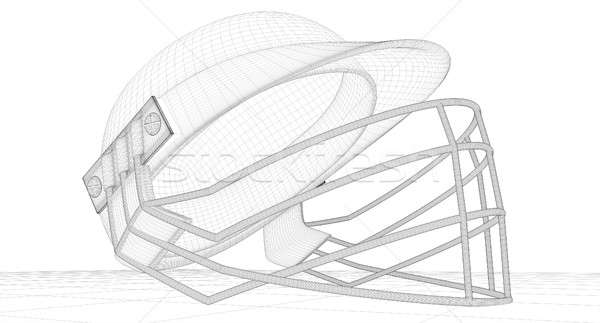 Críquete capacete wireframe tornar regular grelha Foto stock © albund