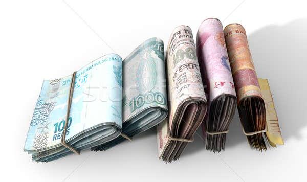 Merkt licht vijf gevouwen bankbiljetten Stockfoto © albund