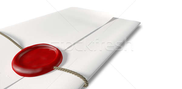 Paper With Red Wax Seal And String Closeup Stock photo © albund