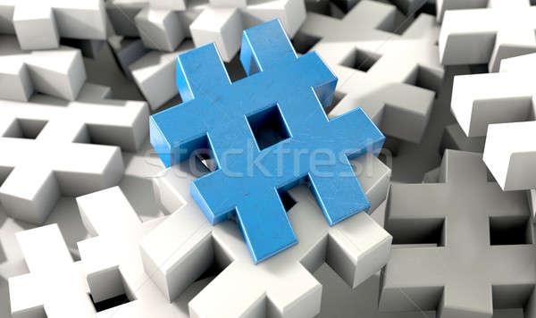 ötlet kép mutat gyűjtemény fehér kék Stock fotó © albund