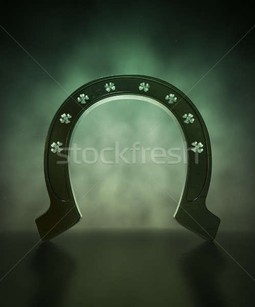 Chanceux Shamrock Horseshoe métal perforé sur Photo stock © albund