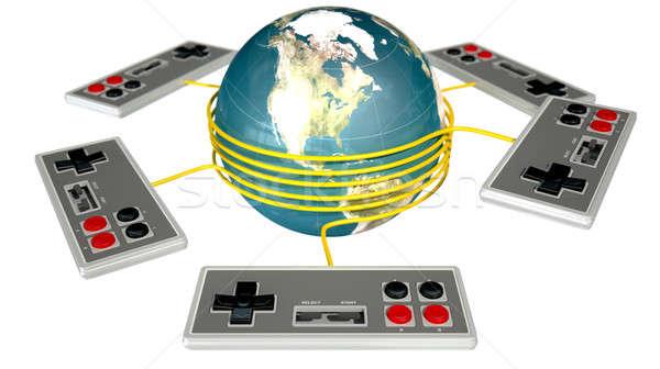 Klasszikus számítógépes játékok verseny gyűjtemény négyszögletes körül Stock fotó © albund