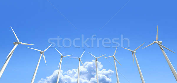 Wind Turbines Blue Sky Stock photo © albund