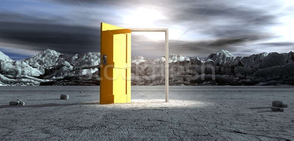 Barren Lanscape With Open Yellow Door Stock photo © albund