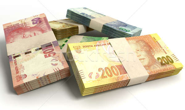 South African Rand Notes Bundles Stack Stock photo © albund